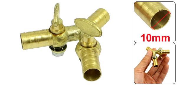 Gold Tone 10mm Diameter 3 Way Ball Valve Connector Coupling