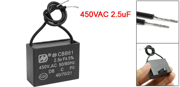 CBB61 Wire Polypropylene Film Coated 450VAC 2.5uF Motor Run Start Capacitor