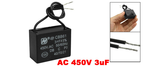 CBB61 AC 450V 3uF 50/60 Hz Wire Motor Run Start Capacitor