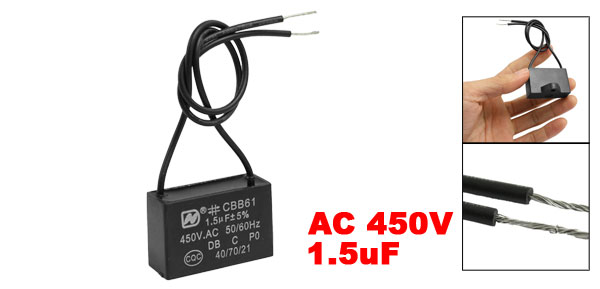 CBB61 AC 450V 1.5uF 50/60 Hz Wire Motor Run Start Capacitor