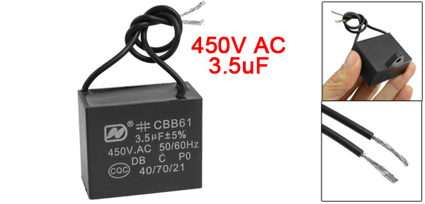 3.5uF 450 Volts 50/60Hz Rectangle Shape Ceilling Fan Start Capacitor CBB61