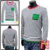 Stylish Mans Long Sleeve Color Patch Pocket Stripes Shirt Steel Blue White L