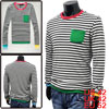 Mens Five Tones Hem Rib Cuff Long Sleeve Stretch Tops Dark Gray White L