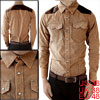 Mans Snap Fastening Faux Leather Detail Long Sleeve Corduroy Shir...
