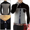 Korea New Fashion Buttoned Cuff Long Sleeve Mens Black White Striped Shirt S