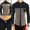 Mens Dark Gray Coffee Color Stylish Stripe Pattern Knit Details Spring Shirt S