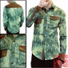 Mens Pale Green Korea Stylish Long Sleeve Single Breasted Washed ...