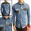 Mens Fashion Light Blue Patch Chest Pockets Single Breasted Denim Shirt M