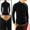 Mens Glossy Snap Fastening Long Sleeve Pure Design Cool Black Sli...