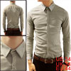 Korea Man Fashion Button Closure Round Hem Stretch Light Khaki Slim Tops S