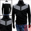Korea New Fashion Long Sleeve Plaids Pattern Slipover Black Polo Shirt For Mens M