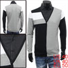 Mens Black Light Gray Fashion Color Blocked Fake Two Piece Spring...