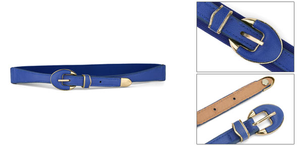 Lady Gold Tone Oval Shapes Single Pin Buckle High Stretchy Waist Belt Royal Blue