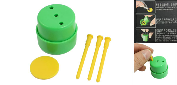 Magical Conjuring Game Green Yellow Magic Box Nails Thru Coin Trick Props
