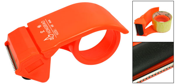 Orange Red 60mm Width Packing Parcel Sealing Adhesive Tape Cutter Dispenser Tool