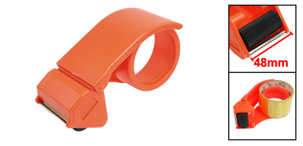 Orange Red Handheld Packing 48mm Wide Adhesive Tape Roll Dispenser Cutter