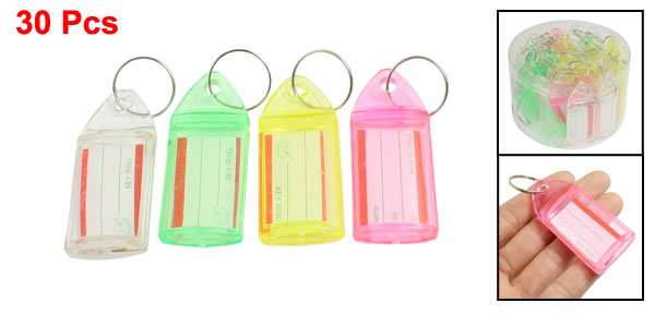 30pcs 4 Colors Plastic Key ID Label Tags with Split Ring Keyring
