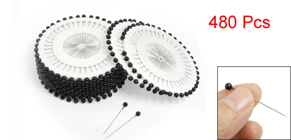 35mm Length Black Needlework Needle Pearl Headed Pins Roll Wheel White 480 Pcs