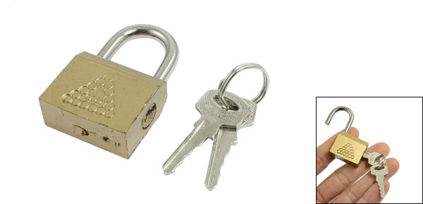 Household Cabinet Door Jewlery Box Part Safety Brass Padlock Lock Gold Tone