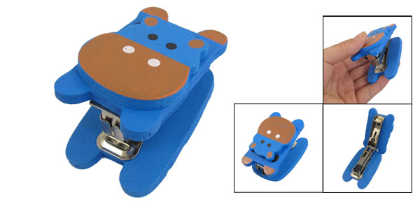 Office Portable Blue Brown Dairy Cattle Head Wooden Shell Stapler