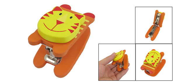 Yellow Orange Wooden Cartoon Tiger Head 15 Sheet Capacity Stapler