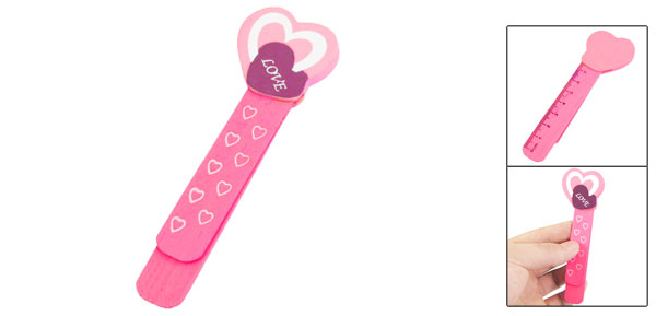 Pink Heart Pattern Head Self Marking Bookmark Page Holder Clip