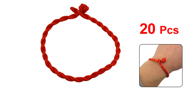 20 Pcs Red Handmade Braided String Ankle Bracelet Cord