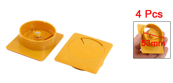 Office Home 53mm Diameter Grommet Square Cable Hole Cover Orange 4 Pcs