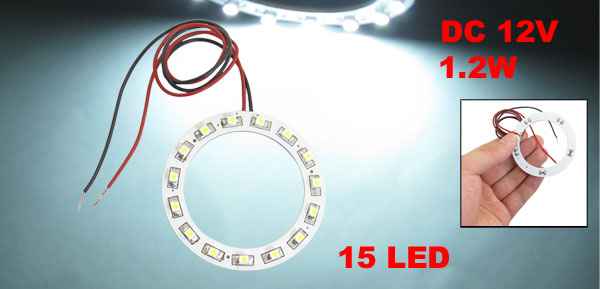 Car Angel Eyes Ring 1210 White 15 LED Light Lamp Bulb Headlight 60mm