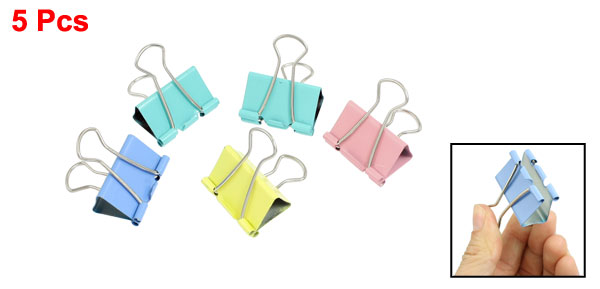 5 Pcs Assorted Color Metal 33mm Width Stationery File Binder Clips