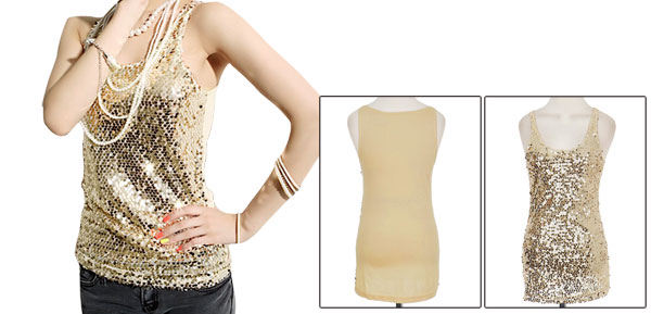 Ladies Sleeveless Scoop Neck Shining Sequined Stretchty Vests Gold Tone Xs
