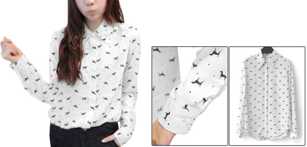 Women Long Sleeve Buttons Front Chiffon Fashion Tops Blouses White M