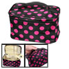 Magenta Dots Printed Black Cosmetic Bag Make Up Pouch for Lady