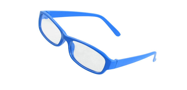 Blue Plastic Full Frame Rectangle Clear Lens Plain Glasses for Lady