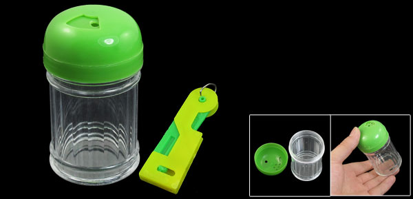 Green Clear Cylinder Shape Plastic Toothpick Holder Container w Needle Threader