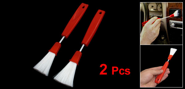 Pair Car Air Flower Vent Keyboard Dust Cleaning Brushes Red White