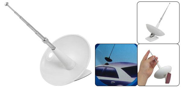 Auto Car Adjustable Telescopic Anti Static Dummy Antenna White Silver Tone