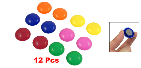 Multicolor Round 30mm Fridge Magnet Note Message Memo Paper Holders 12 Pieces
