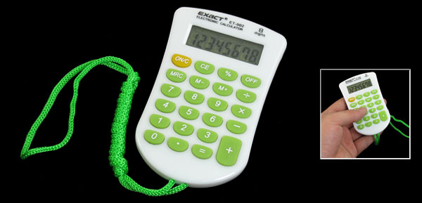 Office Plastic LCD Display 8 Digit Electric Calculator Green White w Strap
