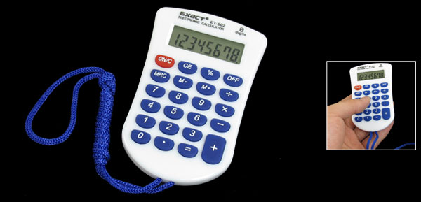 Blue Strap 23 Rubber Keys 8 Digit Calculator White for Student
