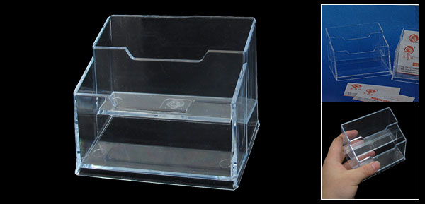 Home Office VIP Name Business Credit Card Clear Plastic 2 Tier Holder Case Box