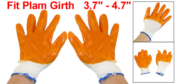 Pair Orange Latex Rubber Coated Palm Working Labor Gloves