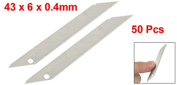 50 Pcs Silver Tone Cutter Spare Blades 43mm x 6mm x 0.4mm for BD-100