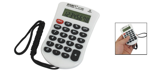 Black Strap 23 Rubber Keys 8 Digit Calculator White for Student
