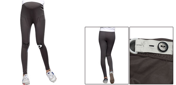 Maternity Dark Gray Eyes Pattern Prints Slim Fit Autumn Thin Leggings XS