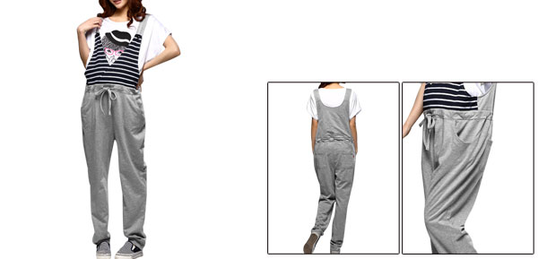 Pregnancy Woman Drawstring Waist Side Pockets Suspender Pants M Light Gray