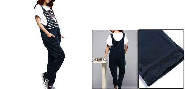 Maternity Four Pockets Stripes Detial Suspender Loose Pants Dark Blue M
