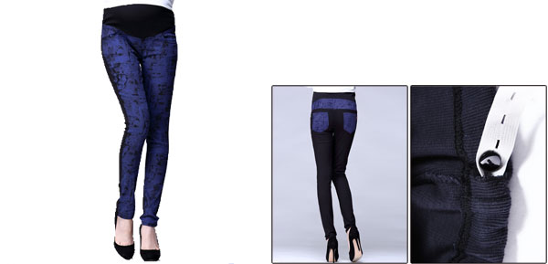 Autumn Knitting Waistband Dark Blue Printed Design Slim Fit Pants For Motherhood S