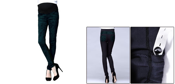 Maternity Button Adjust Knit Waistband Autumn Printed Slim Fit Dark Green Pants S