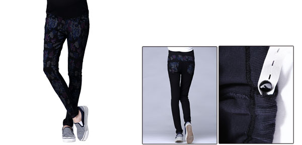 Maternity Elastic Knit Waistband Skinny Floral Prints Black Dark Blue Pants S
